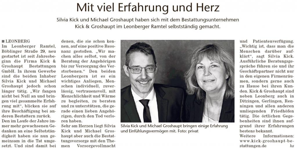 Leonberger Wochenblatt (27.02.2019) - Mit viel Erfahrung und Herz